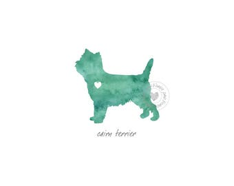Cairn Terrier Dog Watercolor Painting Digital Art Print Silhouette Custom Wall Decor, Home, Office, Nursery, Room Decor