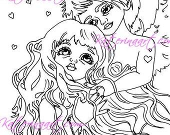 INSTANT DOWNLOAD Digi Stamps Big Eye Angel cherub couple hearts love Digi By Katerina Art