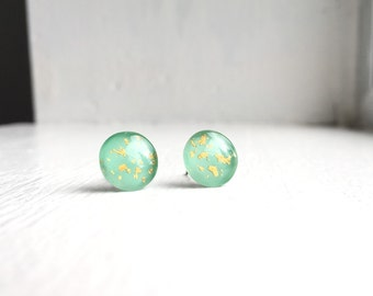 Spring Seafoam and Gold Circle Stud Earrings. Teal, Mint, Design features real 18k gold flakes. Hand painted. Surgical Steel Posts.