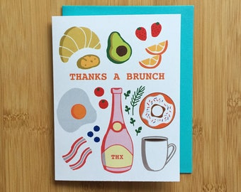 Thanks a Brunch Card - thank you card, breakfast thanks card, food card, eggs avocado bacon card