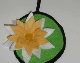Hand-Stitched Water Lily Flower Ornament