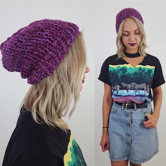 Handknit Handmade Pink Magenta Slouchy Hat - Boho Hipster Art Fashion Style Womens Accessory - Soft Warm Winter Fall Upcycled Yarn Beanie