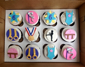 Gymnastics  (12)handmade edible fondant cupcake toppers made by FancyTo