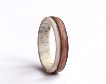 Womens Ring, Antler Ring, Zebrano wood  Wedding band, Slim Wedding Ring