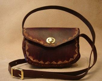 Lyn Tooled Brown Leather Crossbody Bag - Shoulder Purse - Handbag - Wave
