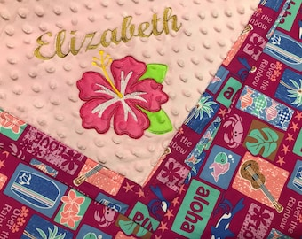 Hawaiian baby gifts etsy free shipping hawaiian baby blanket personalized monogrammed baby shower gift pink and negle Images