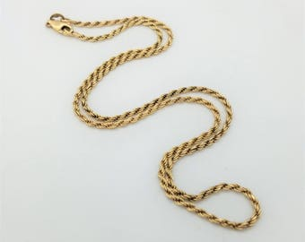 Gold over Sterling Silver Rope Chain Necklace, 2mm wide, 16""