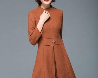 Wool dress, Brown dress, vintage dress, winter dress, mini dress, 90s dress, womens dresses, pocket dress, modern dress, stylish dress C1178