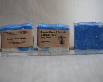 "Four (4) 120g ""Blue Oatmeal"" Super-moisturizing, Gentle Exfoliating Soap Bars 100% with Shea Butter and Oatmeal"