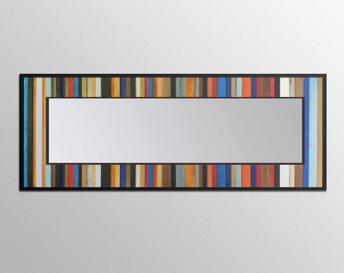 "Reclaimed Wood Mirror - 70x25 - Leaner Mirror - Floor Mirror - ""Rio Reflection""- Modern Wood Wall Art- Reclaimed Wood Art"