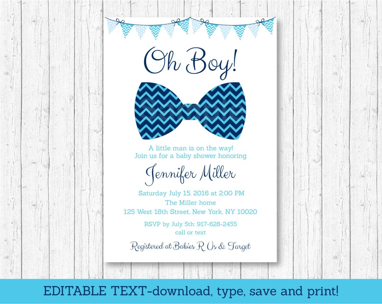 Bow Tie Baby Shower Invitation / Bow Tie Baby Shower / Chevron
