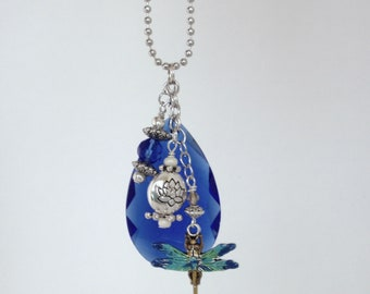 Crystal Car Charm, Rare Colbalt Blue, Vintage Chandelier Crystal, Dragonfly, Water Lily, Beads, Rearview Mirror, Rainbows