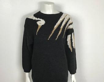 Vtg 70s 80s novelty crane avant garde knit sweater small