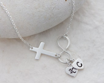 Cross infinity Necklace, Sideways cross Initial Or Birthstone, Bridal shower gift, Infinity necklace . MonyArt original design