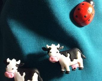 Cute Full Body COW  MOO cow Farmer Animal Clog Shoe Charms