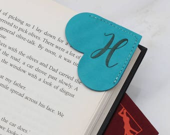 Personalised Initial Leather Page Corner Bookmark (HBL09)