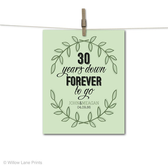 30th Anniversary Gift For Parents 30 Year Him Her Personalized Wedding