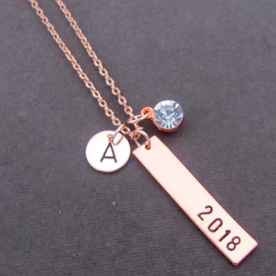 Graduation Necklace,Gift for Grad, Rose gold Bar Necklace,2018 Graduation Necklace,Gift for Her, Custom Name Necklace,Free Shipping USA