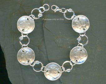 1938 Dime Coin Beaded Silver Bracelet 80th Birthday Gift Jewelry 1938 Gift Women Unique Gifts For Women Gifts For Grandma