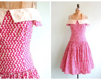 Vintage 80's Does 50's Geometric Tiered Dress   Size Small