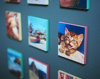 Individual, favorite photos taken on wooden squares