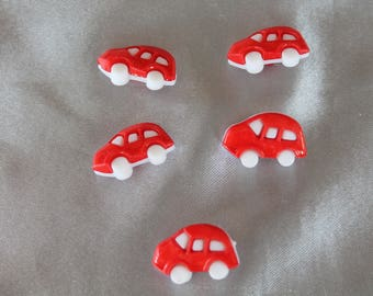 lot of five buttons, red car, 25 mm in diam.