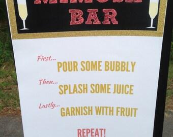 Mimosa Bar Sign, Bridal Shower, Mimosa Bar Signage, Bachlorette Party, Mimosa Bar Poster, Shower, Mimosa Bar