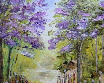 oil made knife depicting lilacs in my garden