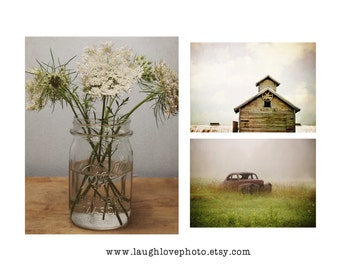 Rustic Farmhouse Photo Print Set, Barn Photography, Flower Still Life, Home Decor Wall Art Decor Queen Anne Lace Mason Jar