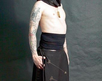 Triple Arrow Black Stained Panel Skirt Loin Cloth