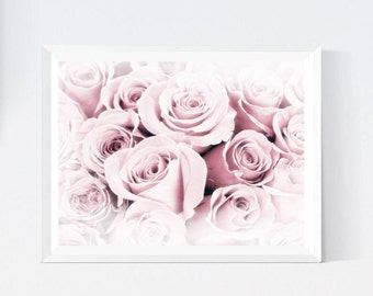 Pink roses, roses poster, blush roses, roses wall art, pastel roses, roses bedroom art, roses room decor, dreamy roses, roses download