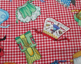 Michael Miller Apron Fabric Out of Print By the Half Yard Bright RedBackground Multi Colored Aprons Check Pattern Super Cute!