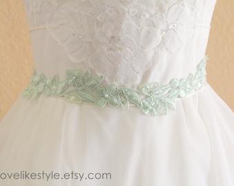 Mint Pearl and Sequined Lace Sash, Mint Sash, Bridal Sash, Bridesmaid Sash, Flower Girl Sash