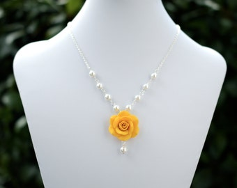 Golden Yellow Rose Necklace, Yellow bridesmaid necklace, yellow Spring summer necklace, Yellow Flower necklace.