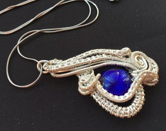 OOAK Blue lampwork  non tarnish silver plated wire wrapped pendant
