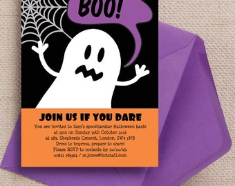 Personalised Friendly Ghost Ghoul Halloween Party Event Invitations Invites