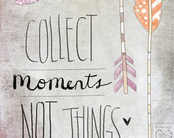 Collect Moments- Beautifully textured cotton canvas art print. Order as an 8x10 11x14 or 16x20 size.