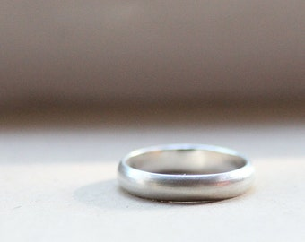 Rustic Unisex Wedding Band of Brushed Sterling Silver