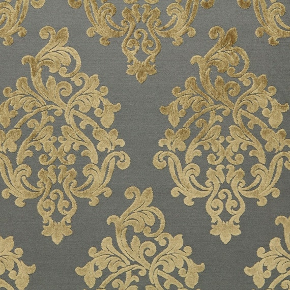 Grey velvet damask upholstery fabric large scale velvet