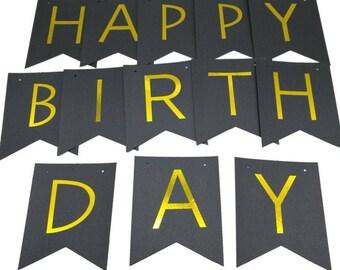 Black Birthday Banner, Happy Birthday Banner, Birthday Banner, Birthday, Birthday Party Banner, Happy Birthday Sign