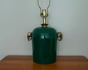 Green Lamp with Brass Elephants