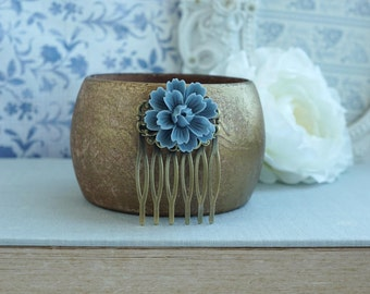 Dusty Blue Flower Hair Comb Antiqued Brass Blue Small Bridal Comb Flower Hair Piece Dusty Blue Floral Flower Girl Comb Rustic Vintage Style