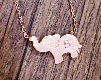 Personalized initial elephant necklace, initial jewelry, Elephant Jewelry, Friendship necklace, sterling silver necklace, silver elephant