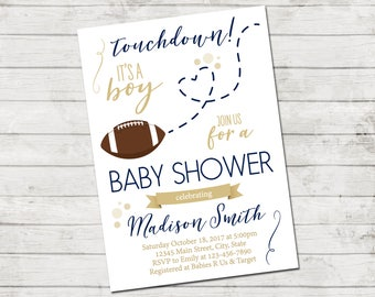 Football Baby Shower Invitation - Football Baby Shower - Football and Heart - Blue and Tan Brown - Printable