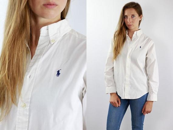RALPH LAUREN Shirt Polo Ralph Lauren Button Up Polo White Shirt Women White Shirt Vintage Ralph Lauren Vintage Shirt Oxford Shirt White 90s