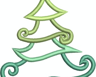 Christmas Tree with Star, Machine embroidery Design 235