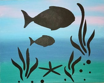 Seascape painting Fish painting Sea painting Blue painting Aquarium art Nautical decor Seascape Gift Seascape decor Free shipping 11x14