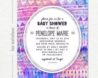tribal baby shower invitation, modern geometric watercolor invitation, pastel pink purple blue, baby girl digital invitation 5x7 jpg pdf 125