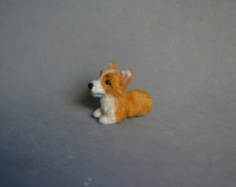 Needle felted corgi dog 2,4 inches-Ooak miniature-Pembroke welsh corgi-Wool animal 1:6 - Collectible animals-art doll