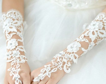 Bridal  Ivory   Elbow  Tulle  Lace    Wedding   Party Prom  Dress  Gloves  Stock  Fingerless  Brides Girls